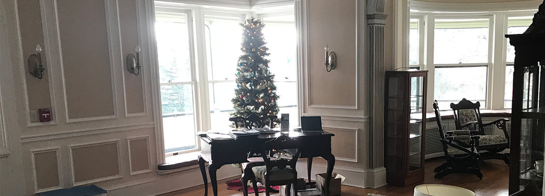Desk with Christmas Tree