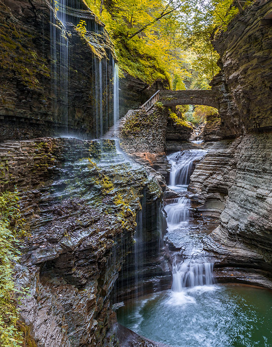 One of the best things to do in the Finger Lakes - Rainbow Falls at Watkins Glen State Park
