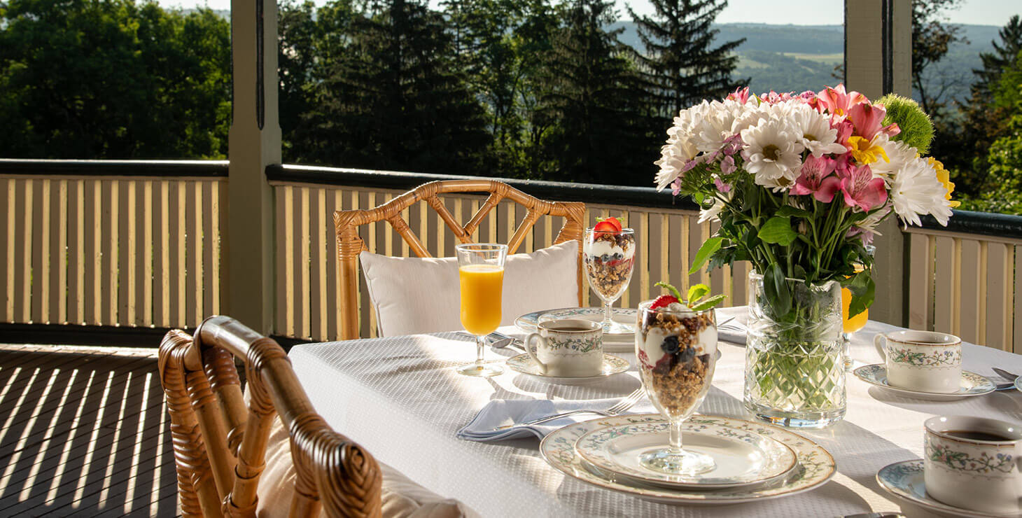 Breakfast on the porch at our Finger Lakes B&B