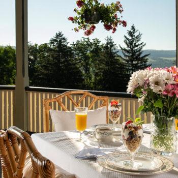 Watkins Glen B&B - breakfast on the porch