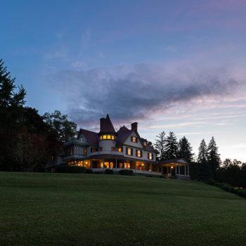 Watkins Glen B&B - inn exterior at twilight
