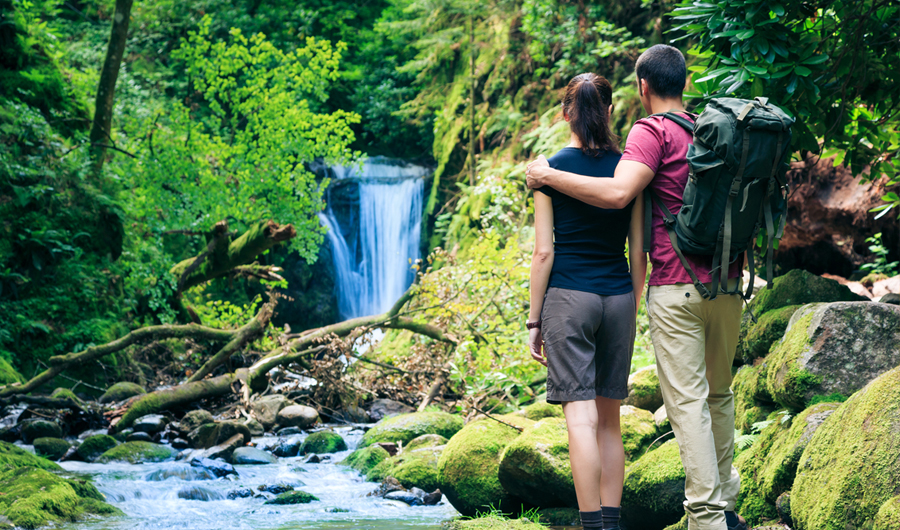 Man and woman standing on a mossy rock looking at a waterfall