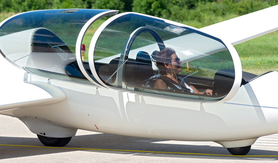 Woman in a sailplane in New York