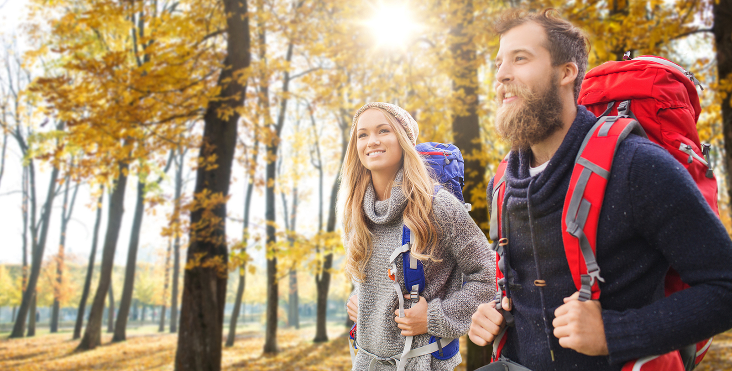 Couple enjoying a fall hike in the Finger Lakes