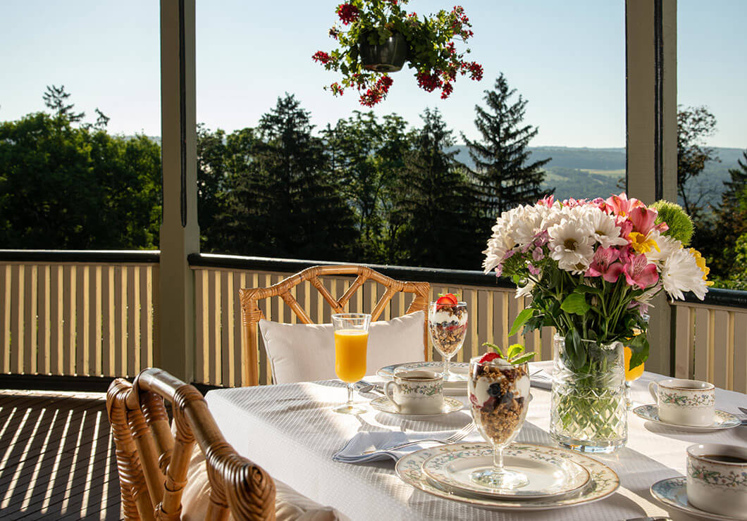 Private breakfast on the porch at our Watkins Glen B&B