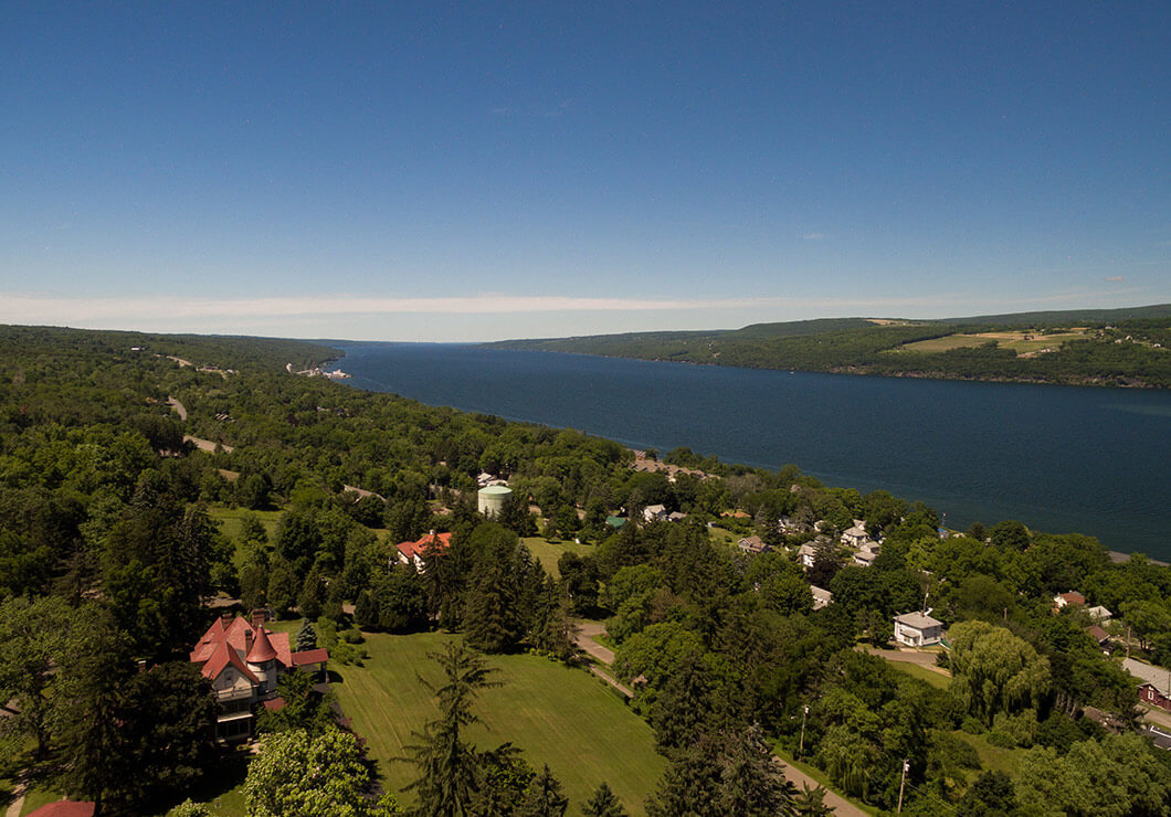 aerial view of our Watkins Glen inn and the surrounding area